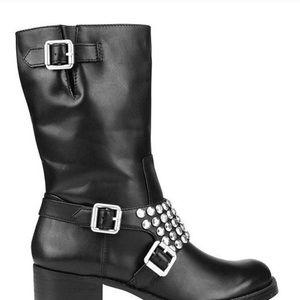 BCBG generation Halen studded leather moto boots